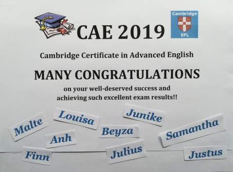 Cambridge Certificate 2019