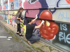 Graffitiworkshop: Trine und Daniel zeigen wie´s geht