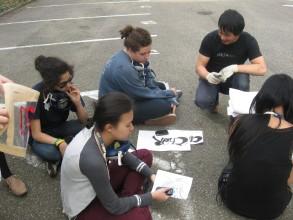 Graffitiworkshop: letzte Tipps, dann können wir anfangen