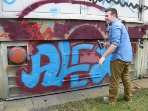 Graffitiworkshop: Alexander gibt gibt Gas