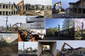 V-Bau: Collage zu den Abrissarbeiten